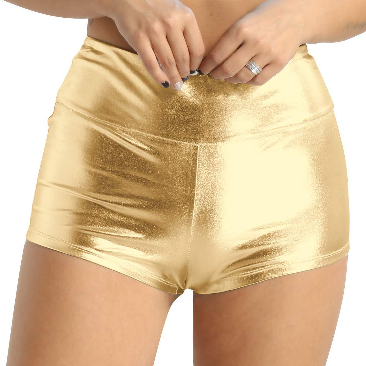 Agoky Damen Shorts Metallic Hot Pants Leder-Optik hoch taillierte Bikini Minishorts Sport Fitness Tanz Badehose Glänzend Booty Panty