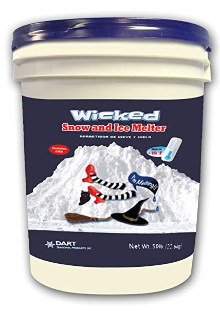 WICKED SNOW AND ICE MELTER Rock Salt - Heat Generating Pellets - Concrete  and Surface Safe - Industrial Grade - Home and Commercial Use - Blue Tint -