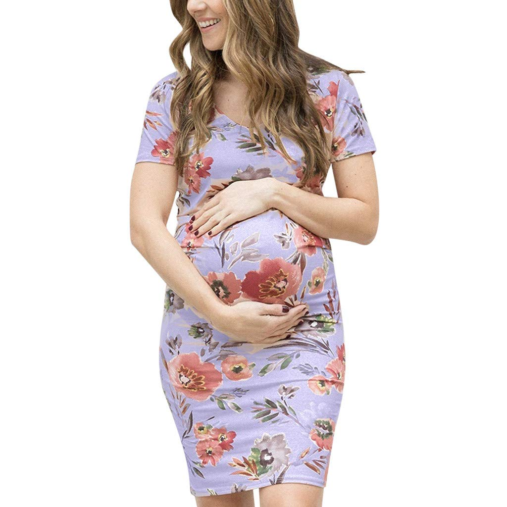 8a740c43be568 Amazon.com: Women Maternity Floral Bodycon Dress - Ladies Pregnant Crew  Neck Shorts Sleeve Dresses - Casual Comfy Nightgowns Clothes (S, Blue):  Home & ...