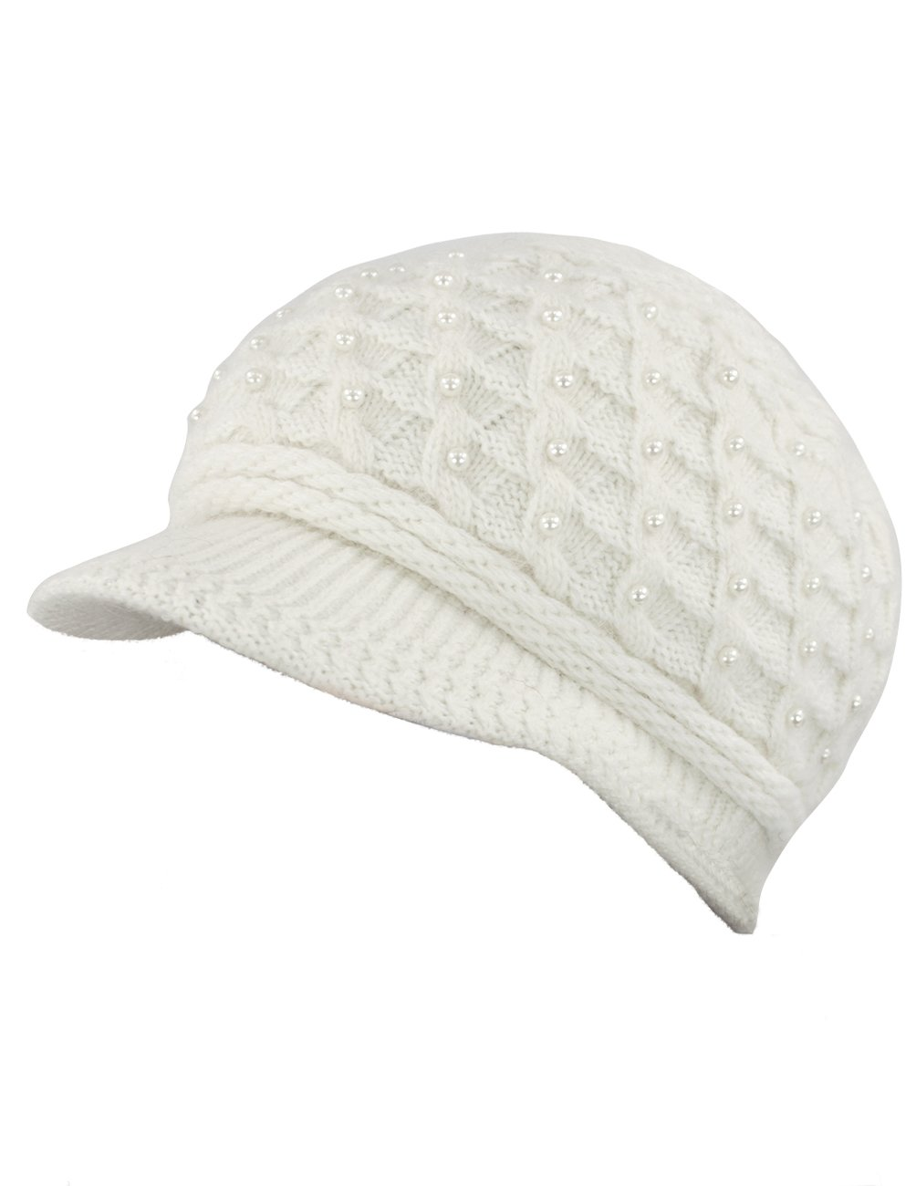 Dahlia Women's Angora Newsboy Cap Hat - Faux Pearl Accent - Dual Layer White