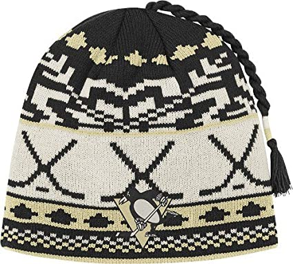 662c7f904e0 Image Unavailable. Image not available for. Color  NHL Reebok Pittsburgh  Penguins Cuffless Tassel Knit Hat ...