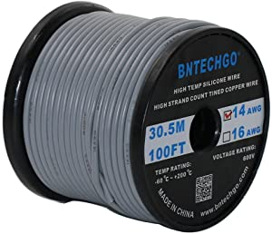 BNTECHGO 14 Gauge Silicone Wire Spool 100 ft Gray Flexible 14 AWG Stranded Tinned Copper Wire