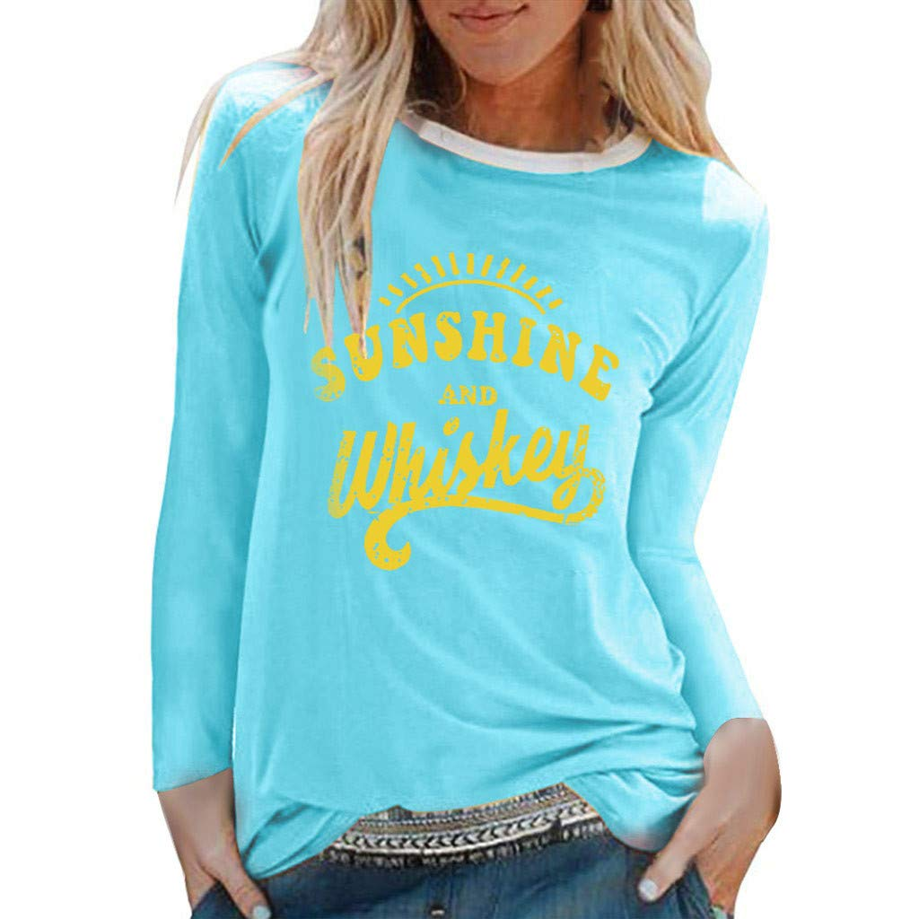 Pumsun Women's Sunshine Graphic Letter Printed Long Sleeve T-Shirt Top Pullover Sweatshirt (Sky Blue, M) by Pumsun