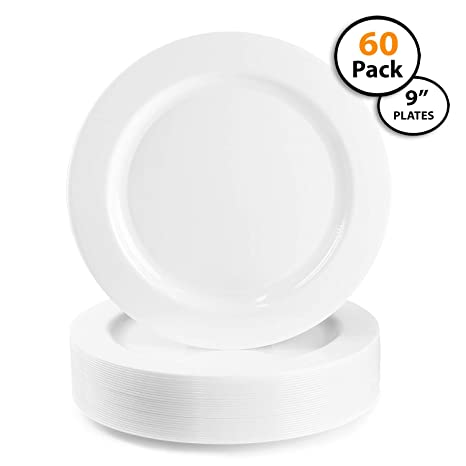 Amazon.com: 60 Pack | Quality Heavyweight Plastic Plates, Disposable ...