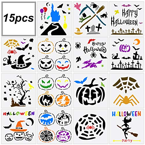 Farram 15pcs Halloween Plastic Painting Template,Reusable DIY Decorative Craft Stencils with Sickle,Witch,Skeleton,Bat,Owl Suitable for Spray molds,Cards,Posters,Wall art
