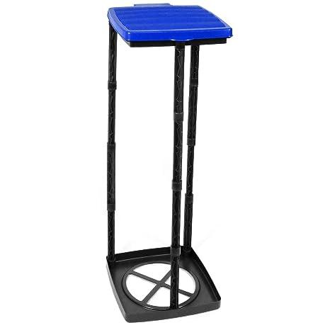 com-four® Soporte para Bolsas de Basura con Tapa, 3 Alturas Diferentes montables, Azul (Cubierta - Azul)