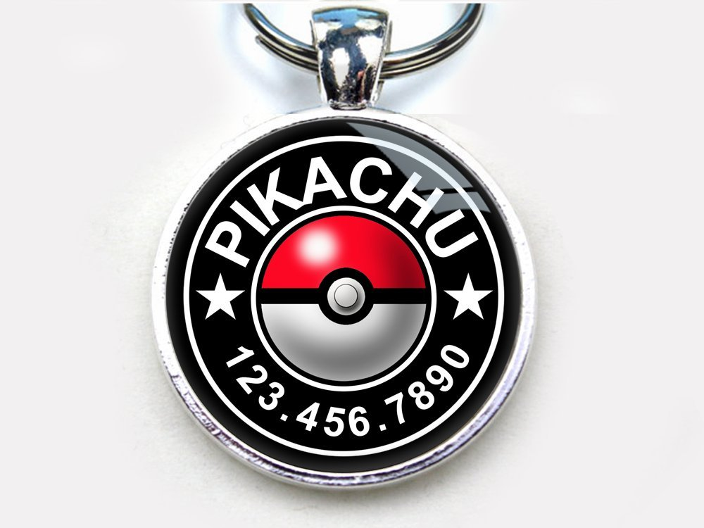 Pokeball Custom pet ID Tag dog tag cat pet tag (Small 1'')