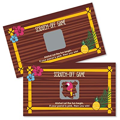 Big Dot of Happiness Tiki Luau - Tropical Hawaiian Summer Party Game Scratch Off Cards - 22 Count: Toys & Games