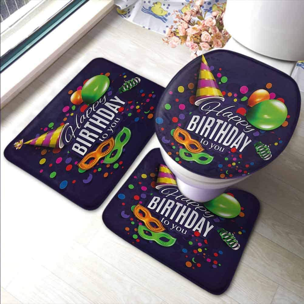 Bathroom Rug Set Bath Contour Mat Toilet Lid Cover Birthday,Colorful Balloons Curling Ribbons Carnival Mask Party Hat Confetti Desgin Print,Multicolor,Floor Mat Kitchen Long Carpet