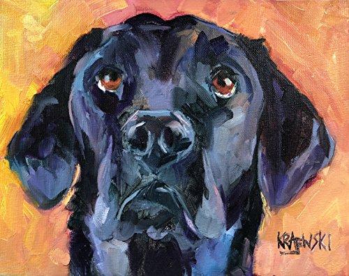 Black Labrador Retriever Dog Fine Art Print on 100% Cotton Watercolor Paper