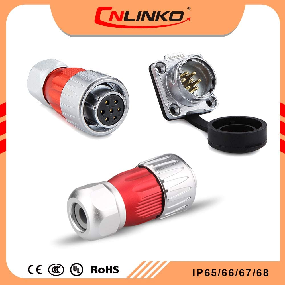 CNLINKO DH20 Aviation Connector M20 Male Plug with Female Socket Waterproof Metal Thread Panel Connector 12 Pins for AC DC Signal LED Lighting Equipment