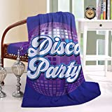 HAIXIA Blanket Party Decorations Size Retro Lettering on Disco Ball Night Club Theme Dance and Music Decorative Piece Purple Blue White