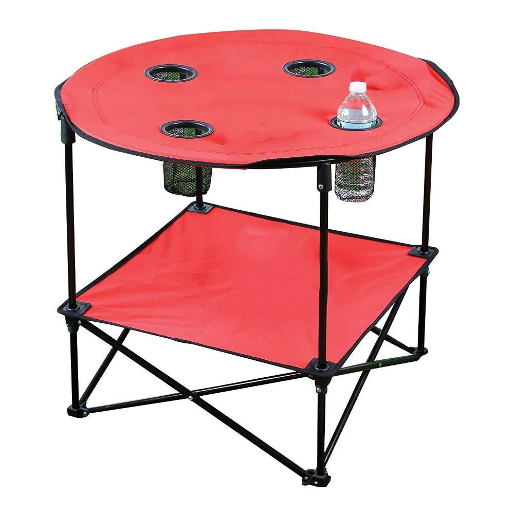 Red Portable Camping Side Table Folding Picnic Table Outdoor Travel Patio Case BBQ