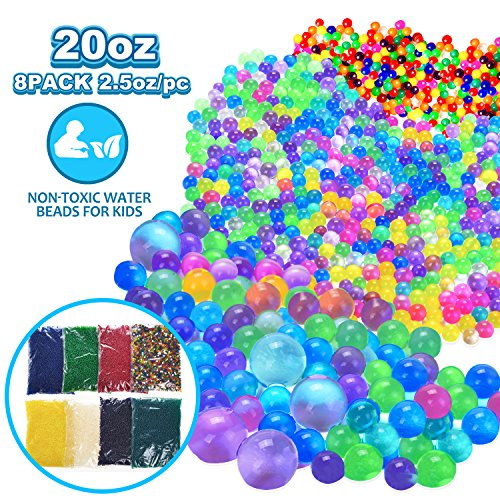 Water Beads, 20 OZ ( 60,000 beads) Kids Water Beads , Flash Water Beads For Orbeez Refill, Kids Tactile Toys, Sensory Toys, Vase Filler, Transparent Jelly Pearls 8 Pack Clear Water Beads