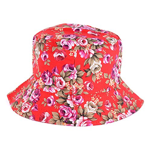 BYOS Fashion Cotton Unisex Summer Printed Bucket Sun Hat Cap, Various Patterns Available (Vintage Flower Red)