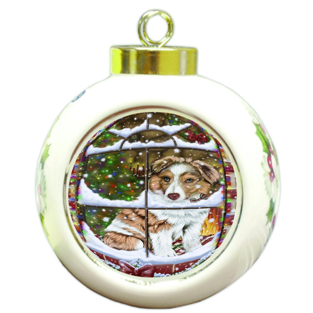 Please Come Home For Christmas Australian Shepherd Dog Sitting In Window Round Ball Ornament D379