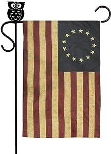 GSAIJJFS Grunge Aged American Betsy Ross Flag Garden Flag Welcome House Flags 12x18 Inch