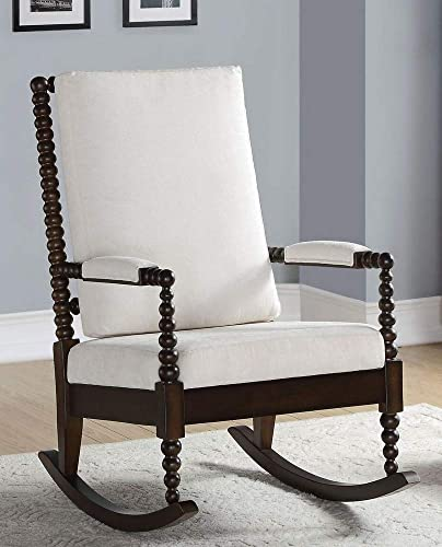 ACME Tristin Rocking Chair – – Cream Fabric Walnut