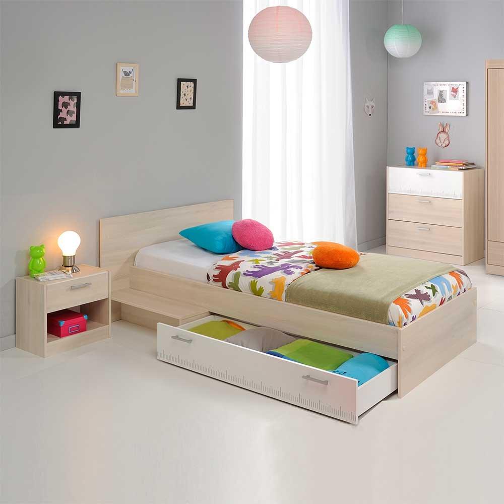Pharao24 Jugendzimmer Einrichtung in Weiß Akazie Schubladenbett