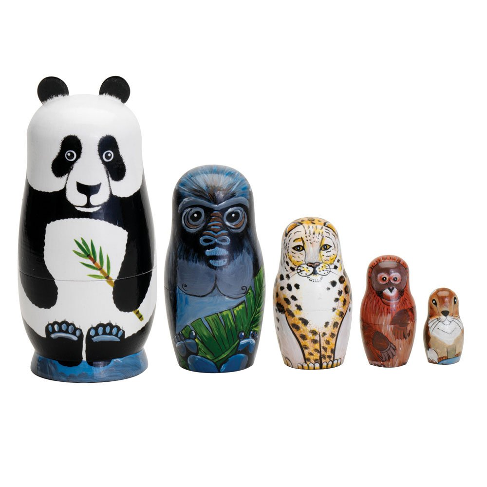 Bits and Pieces - Nesting Endangered Species-Hand Painted Wooden Nesting Dolls - Set of 5 Dolls from 5.5'' Tall by Bits and Pieces