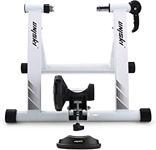 unisky Bike Trainer Stand Indoor Exercise Bicycle Training Stand Magnetic Riding Stand with 6 Level Resistance for Mountain & Road Bike…