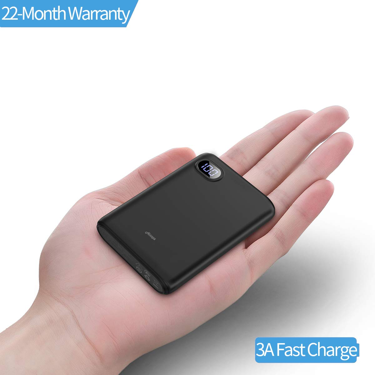 10000mAh Portable Charger,(Smallest) (LCD Display) (Powerful) Ainope External Battery Pack/Battery Charger/Phone Backup Power Bank with Dual USB Output(3.1A),Perfect Carry for Travel-Black