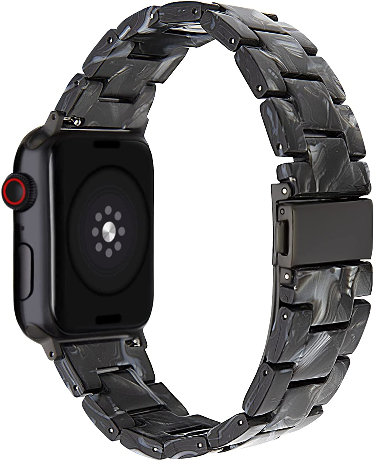 SEURE Resin Band Compatible with Apple Watch 38mm 40mm 42mm 44mm ,Series SE/6/5/4/3/2/1 Women Men Strap with Stainless Steel Buckle Replacement Wristband Bracelet
