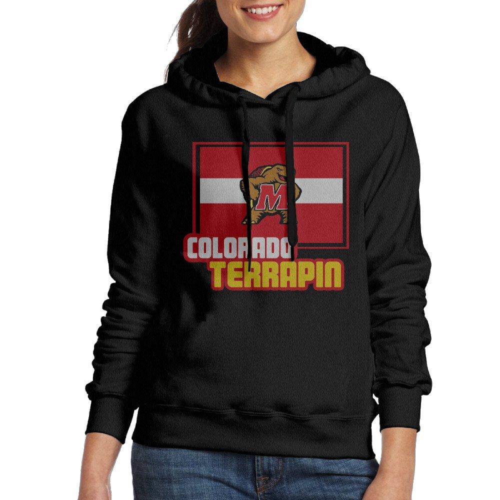 Curcy University Of Maryland Terps Colorado Terrapin Hoodie Hooded Sweatshirt For WomenSchool Black
