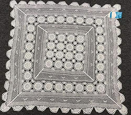 (Mikash 100% Cotton White Square Crochet Lace 33x33 Tablecloth | Model TBLCLTH - 543)