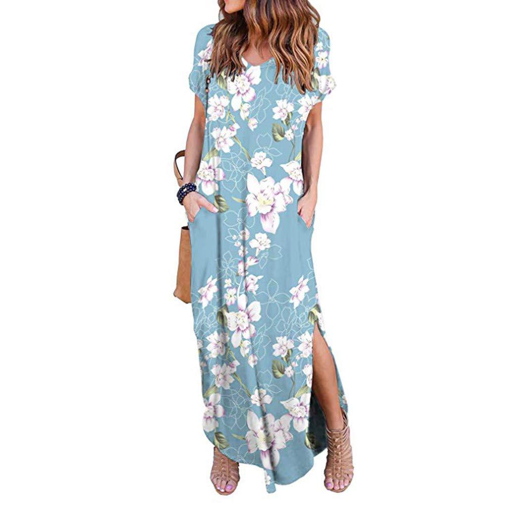 TWGONE Maxi Dresses For Women Summer Short Sleeve Loose Pocket Split Long Dress (X-Large,Blue)