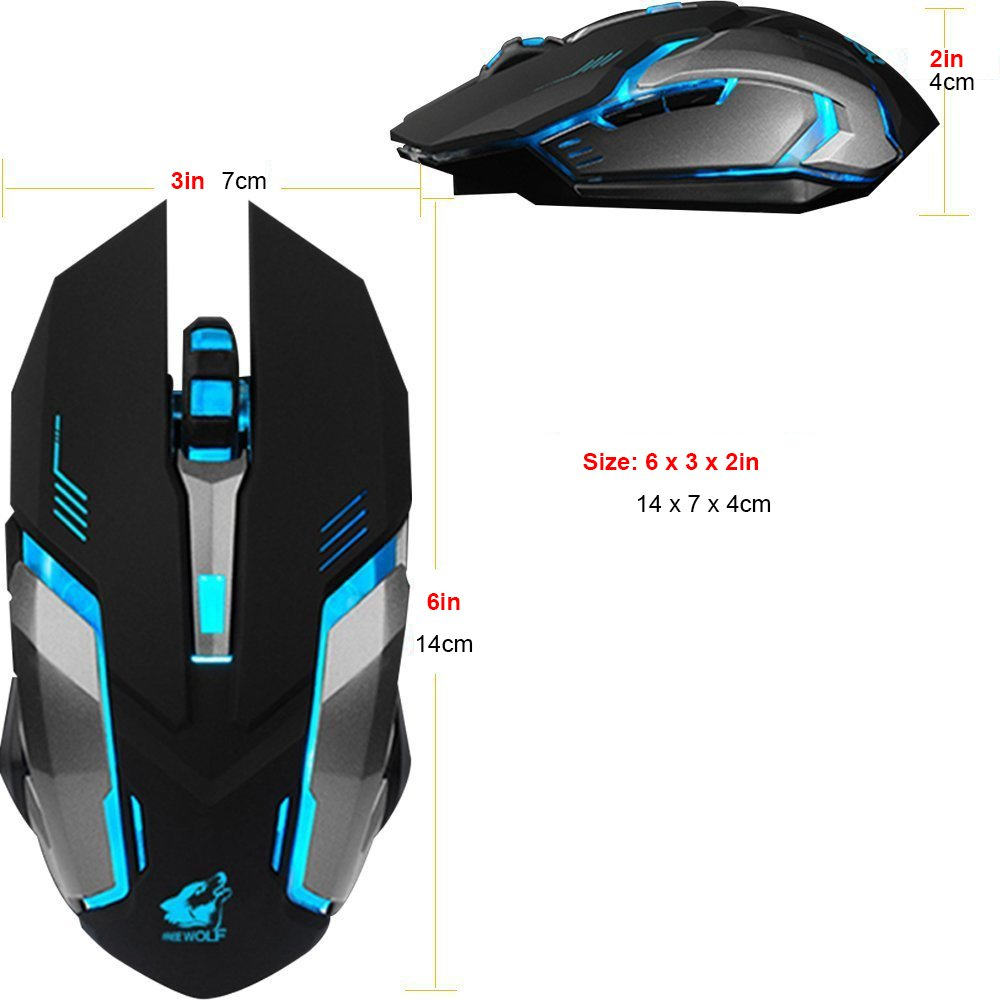 LexonElec Wireless Ergonomic Mouse X7 2.4GHz Rechargeable Silent Optical Pro Gamer Gaming Mice with USB Receiver, 7 Colors LED Backlit, 3 Adjustable DPI (800/1200/1600), 6 Buttons for PC (Black) by LexonElec® (Image #2)