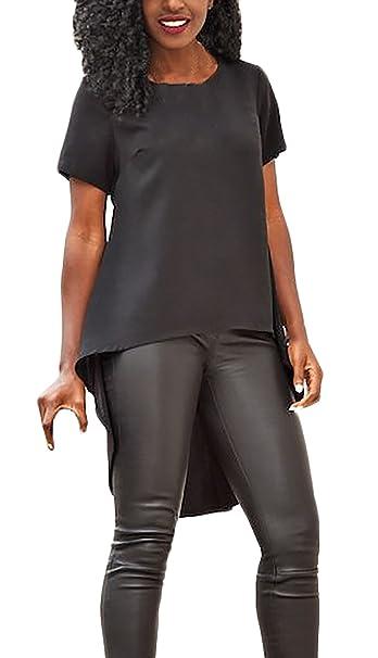 T Shirt Damen Elegant Sommer Kurzarm Rundhals Einfarbig Uni Farben