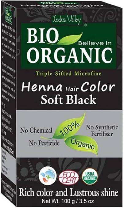 Indus Valley Henna Tinte para el cabello Soft Black 100% Bio Organic Triple Sifting Microfine Powder (Soft Black)