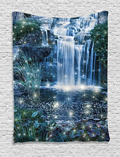 Magic Home Decor Tapestry Wall Hanging by Ambesonne, Fairy Fantastic Waterfalls at Night with Alluring Light on the Water Fresh Landscape, Bedroom Living Room Dorm Decor, 60 x 80 Inches, Grey Green Waterfall Night Light
