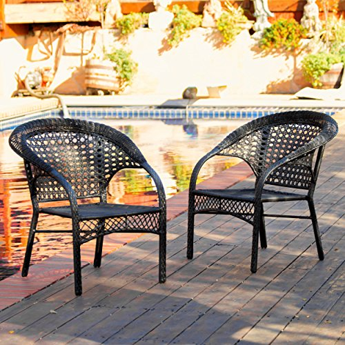 re ~ Outdoor Wicker Stacking Patio Dining Chair (Set of 2)(Black) (Stackable Wicker Chairs)