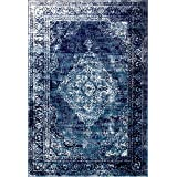 A2Z Rug Vintage Traditional Santorini Collection Navy Blue 80x150 cm - 2.6x5 ft Area Rugs
