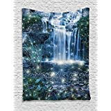 Ambesonne Magic Home Decor Collection, Fairy Fantastic Waterfalls at Night with Sparkling Light on the Water Fresh Landscape, Bedroom Living Room Dorm Wall Hanging Tapestry, Grey Green