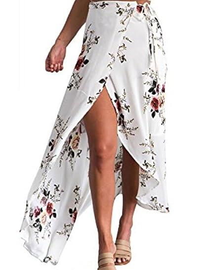 9d7e72a28312 Faithtur Women s Boho Floral Print High Waist Summer Bech Wrap Maxi Skirt  Cover up (US