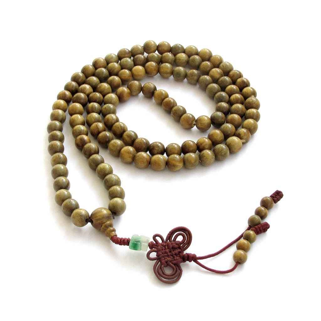Green Sandalwood Beads Tibetan Buddhist Prayer Meditation Mala Necklace by OVALBUY T0020