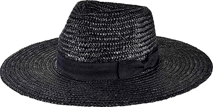 eb179495f40a2 San Diego Hat Company Women's Pinched Crown Wheat Straw Fedora Hat, Black,  ...