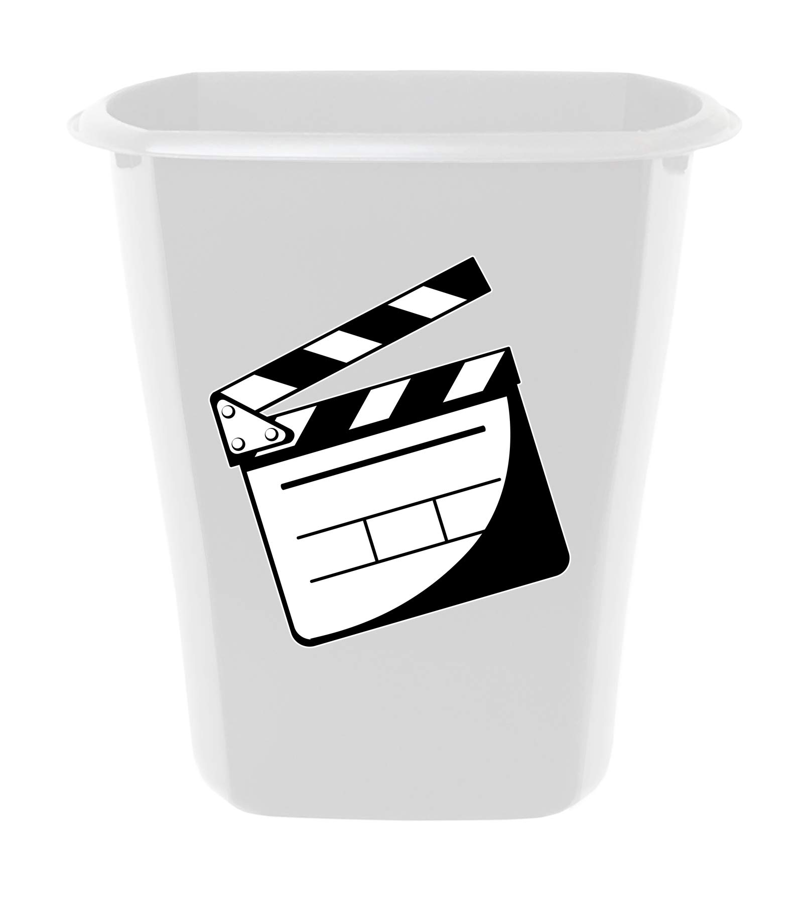 The Furniture Cove 3 Gallon White Plastic Wastebasket Trash Can for the Bathroom or Game Room Featuring the Choice of Your Favorite Novelty Theme Logo Decal (Movie Clapper)
