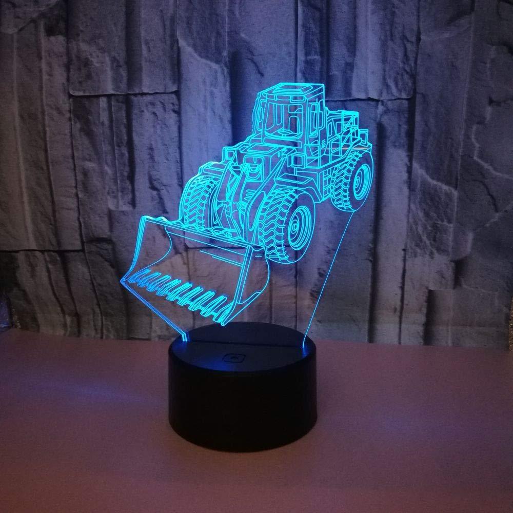 Visual Lumière 3D Lamp Illusion D'optique Lumières LED 7 Couleurs Changent LED Desk Table Night Lights Pour Enfants Adultes Chambre À Coucher Salon Décoration De La Maison, Bulldozer YUN Night Light@