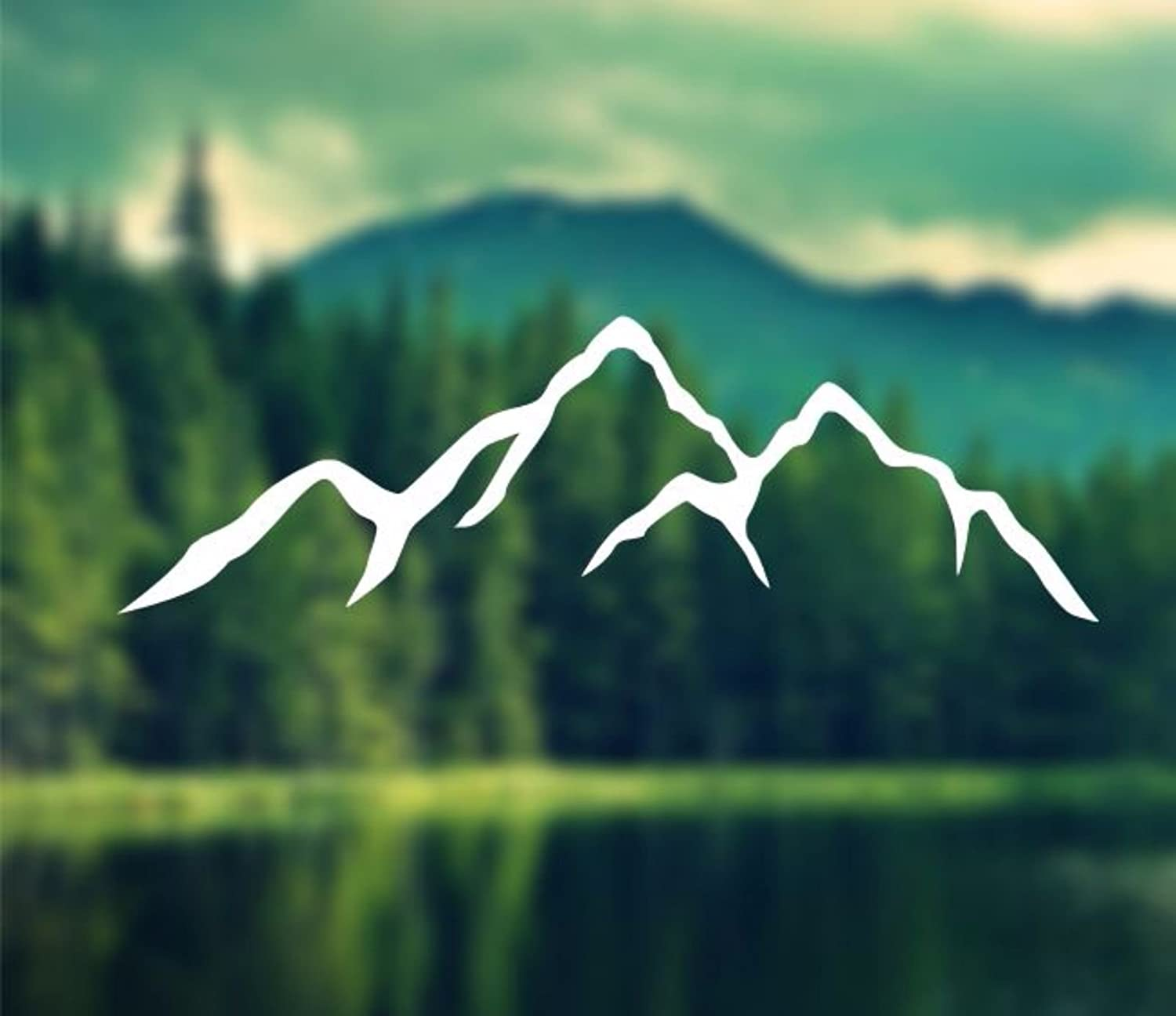 Decal Mountains Silhouette Car Decal Laptop Decal Macbook Decal Ipad Decal 2 x 6 White