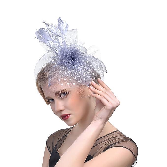 Lady net Hoop piuma capelli fascinator con velo fascia matrimonio cocktail  party Royal Ascot fermacapelli copricapo Grey Taglia Unica Taglia Si Adatta  ... 4d8b677198c9