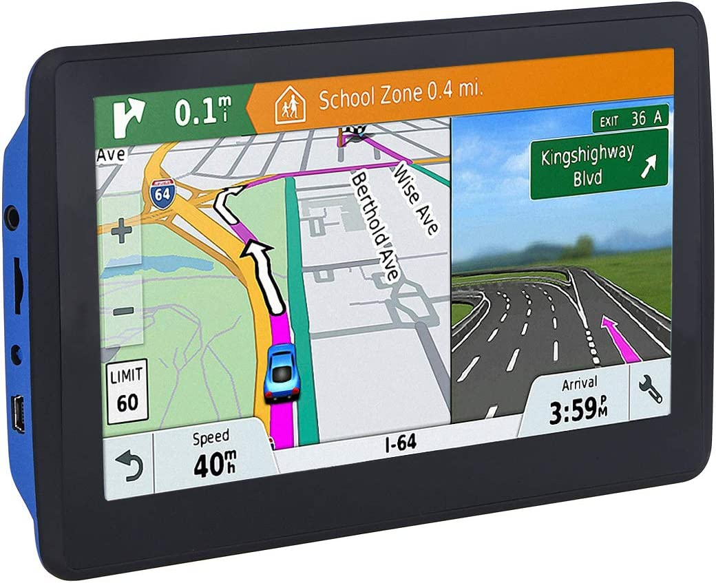 7 inch Navigation System for Cars Lifetime Map Updates Touch Screen Real Voice Direction SATNAV Car GPS