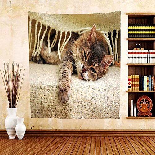 Gzhihine Custom tapestry Cat Lover Decor Collection Cat Sleeping under Blanket Comfortable Laziness Relaxing Tired Whisker Lazy Day Bedroom Living Room Dorm Tapestry Beige - Philadelphia Outlets Map