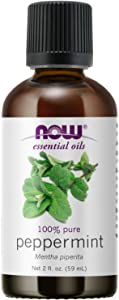 NOW Essential Oils, Peppermint Oil, Invigorating Aromatherapy Scent, Steam Distilled, 100% Pure, Vegan, Child Resistant Cap, 2-Ounce