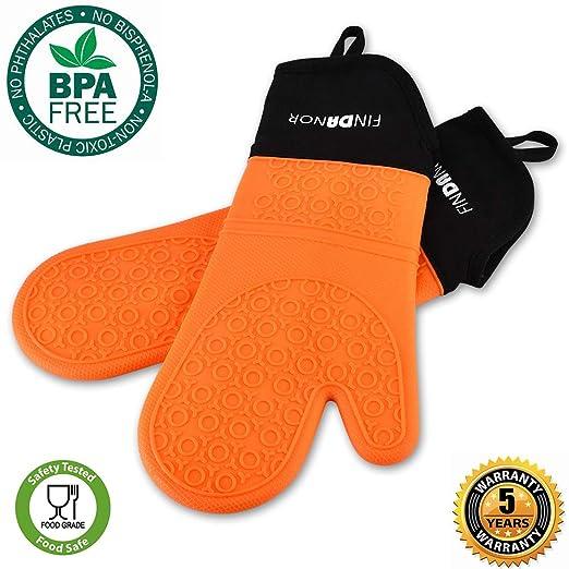 FINDANOR guantes de horno de silicona con forro interior suave - 1 ...