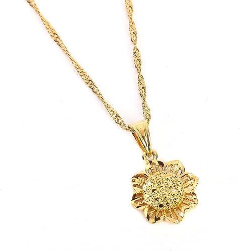 Süßer kleiner Sonnenblume gold Anhänger Halskette Kette