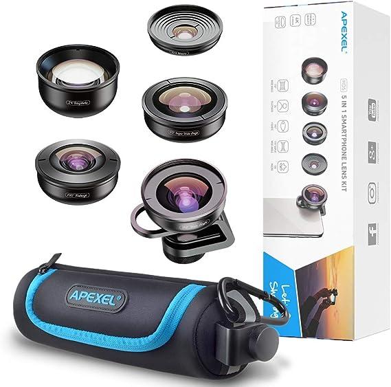 BAI YI Kit de Lentes de cámara para teléfono móvil, cámara HD 5 en 1, Lentes de teléfono 4 K de Amplio telescopio Macro Lente súper Ojo de pez para iPhone XS